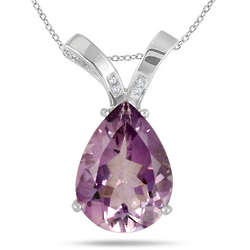 Sterling Silver 8 Carat Amethyst and Diamond Pendant