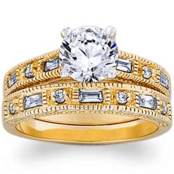 14K Gold Plated Brilliant Cubic Zirconia Wedding Ring Set