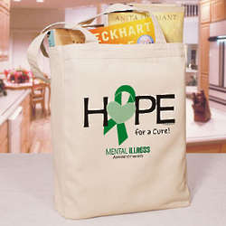 Hope for a Cure Mental Illness Awareness Canvas Tote Bag