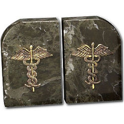 Marble Caduceus Bookends
