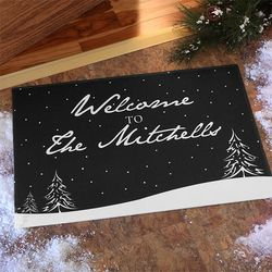 Snowscape Personalized Holiday Doormat