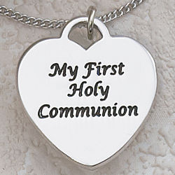 Personalized Holy Communion Rhodium-Plated Heart Pendant