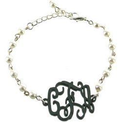 Acrylic Monogram Pearl Bracelet