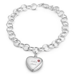 Engraved Sterling Birthstone Locket and Bracelet