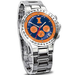 Men's Fighting Illini Chronograph and Stainless Steel Watch