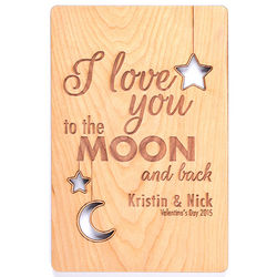 I Love You to the Moon and Back Personalized Wood Postcard