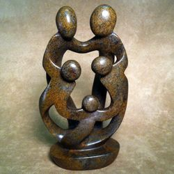 Loving Family of Five Stone Sculpture
