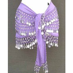 Lilac Belly Dance Belt 3 Lines of Beads and Coins