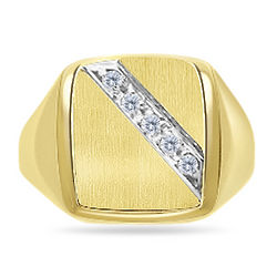 Mens Satin & Grooved Signet Diamond Ring