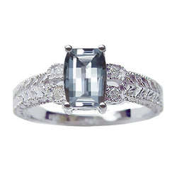 Barrel Cut Aquamarine and Diamond Ladies White Ring