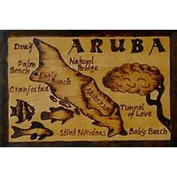 Aruba Map Leather Photo Album in Natural