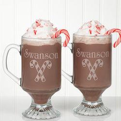 Personalized Holiday Spirit Glass Coffee Mug Set
