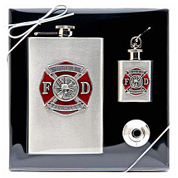 Firefighter Flask Gift Set in Full Color