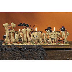 Happy Halloween Bone Votive Holder