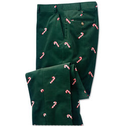 Men's Embroidered Holiday Corduroy Pants