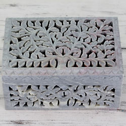 Honeysuckle Soapstone Jewelry Box