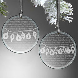 Family Circle Personalized Glass Christmas Ornament
