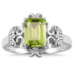 2 Carat Emerald Cut Peridot and Diamond Ring