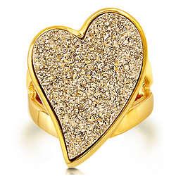 Heart Shaped Natural Drusy Quartz Brass Ring