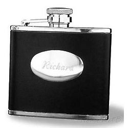 Black Leather Personalized Flask