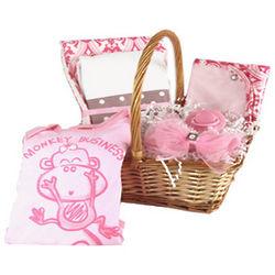 Baby Girl Pink Monkey Gift Basket