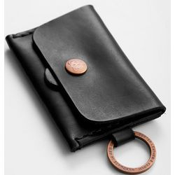 Black Leather Card Wallet with Snap Closure