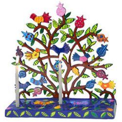 Hand-Painted Tree of Life Chanukah Menorah