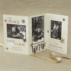 Three Panel Personalized Vintage Photo Christmas Cards