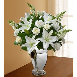 All White Bouquet in Silver Vase