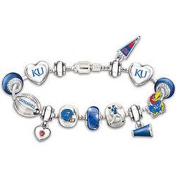 Kansas Jayhawks Charm Bracelet with Swarovski Crystals
