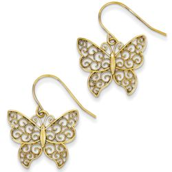 Filigree Butterfly Earrings in 14 Karat Yellow Gold
