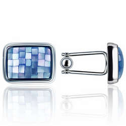Mosaic Mother of Pearl Silver Plated Cufflinks