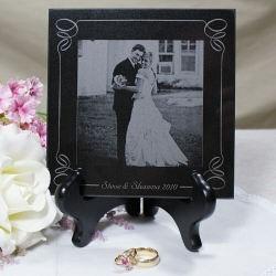 Engraved Wedding Photo Marble Keepsake
