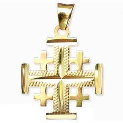 14K Gold Jerusalem Cross Pendant