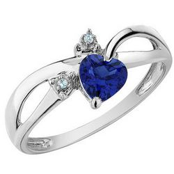 Created Sapphire Heart Ring with Diamond Accents in 10K Gold