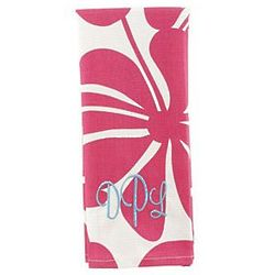 Pink Floral Personalized Kitchen Towel
