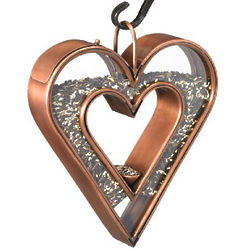Copper Heart Fly-Thru Bird Feeder