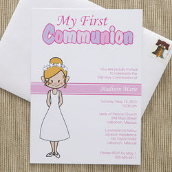 Personalized Communion Invitations for Girl