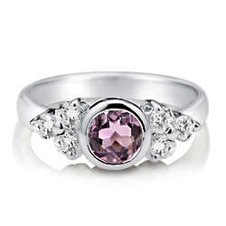 Natural Amethyst Gemstone Sterling Silver Cluster Solitaire Ring