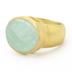 18K Gold Clad Simulated Oval Aquamarine Ring