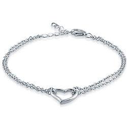 Sterling Silver Open Heart Double Strand Bracelet