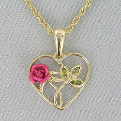 Goldtone Heart with Pink Rose Necklace