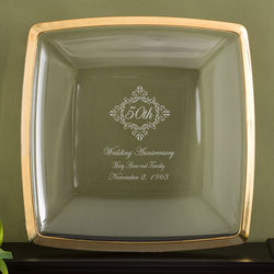 Personalized Gold Trim Anniversary Platter