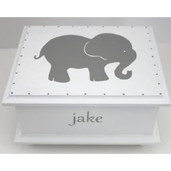 Baby's Handmade Wooden Elephant Keepsake Box