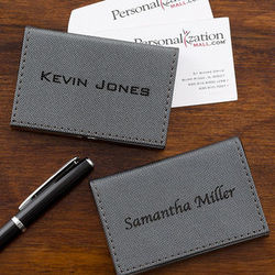 Personalized Gray Business Card Case