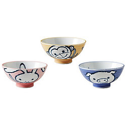 Pig, Monkey, and Bunny Bowls