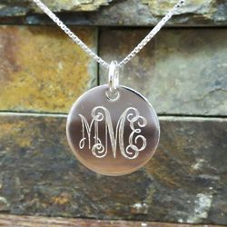 "Sterling Silver 7/8"" Monogram Necklace"