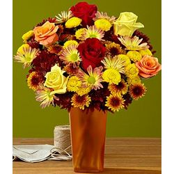 Fall Smiles and Sunshine Mixed Bouquet with Bronze Vase