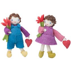 Felt Boy and Girl Heart Friend Dolls