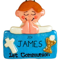 Personalized First Communion Brown Hair Boy Ornament